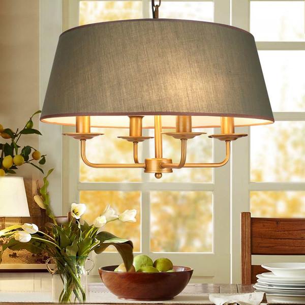 Großhandel American Vintage Lampe E14 Led Lampe Kronleuchter Für Wohnzimmer  Hochzeitsdekor Hause Beleuchtung Kupfer Eisen Grün Stoff Lampenschirm ...
