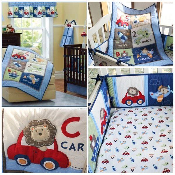 Boy Pilot Baby Crib Bedding Sets 4pcs One Kit Cartoon Animal Monkeys Airship Printed Children Bed Skirt Cover Suit 221dhE1