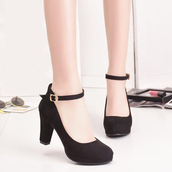 Zapatos de vestir de diseñador Otoño Mujeres Tacones altos Flock Vestido  negro Bombas dulces Hebilla femenina e338f0d777cd