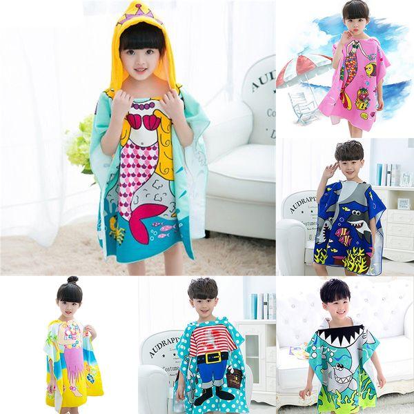 top popular 21 styles Mermaid bathrobe Kids Robes cartoon animal shark Nightgown Children Towels Hooded bathrobes 60*120cm C35 2020