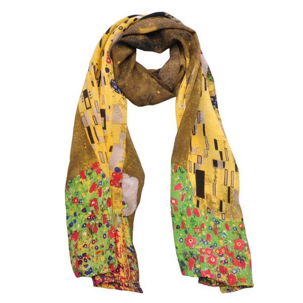 "Fashion Women's Long Scarf 100% Crepe De Chine Silk Oil Painting Arts Wraps & Scarves Brand Gustav Klimt's Works ""The Kiss"""