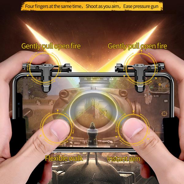 Mobile Phone Four Finger Fire Aim Button Gun Trigger Joystick For Xiaomi L1 R1 Shooter Controller Metal Key PUBG Game Gamepad