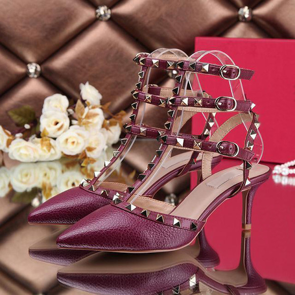 European style ladies designer high heels shoes high quality lychee lines leather shoes fashion sandals womens shoes with box