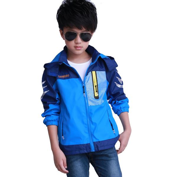 2018 New Children Windbreaker Autumu Kids Boy Patchwork Jacket Double-deck Waterproof Coat Outerwear Boys Jackets
