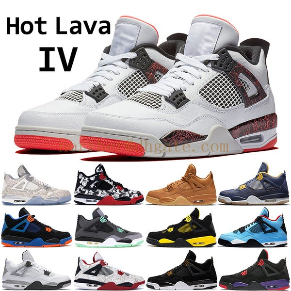 Compre 2019 Nike Air Jordan 4Lava Caliente 4 4s Zapatillas De Baloncesto Hombres Hombres Puro Dinero Negro Láser Cavs Negro Royal Dunk Desde Arriba