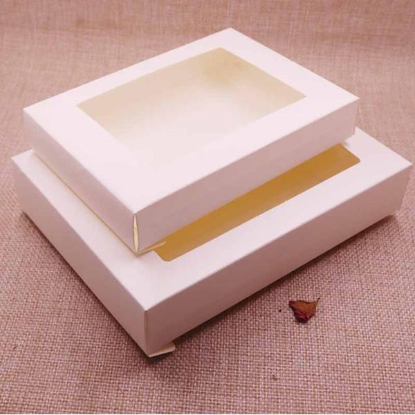Paquete de caja de regalo de papel Kraft de Vintage / Ivory Box con ventana transparente de pvc y caja de paquete de pantalla de muestra de artskrafts 100pcs