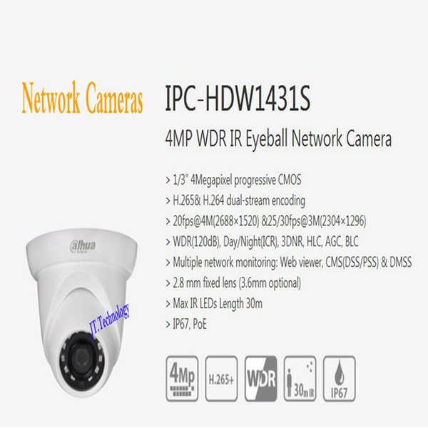 In Stock Security IP Camera 4M WDR IR Eyeball Network Camera With POE on