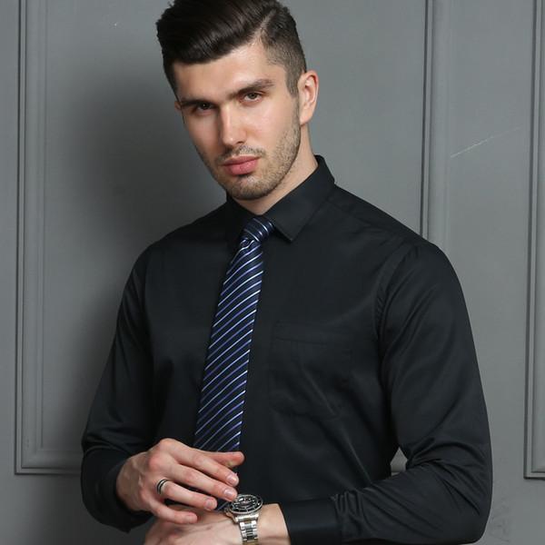 2019 primavera e no outono novos homens puro preto camisa de mangas compridas dos homens profissional sem desgaste camisa quente bordado ferramental