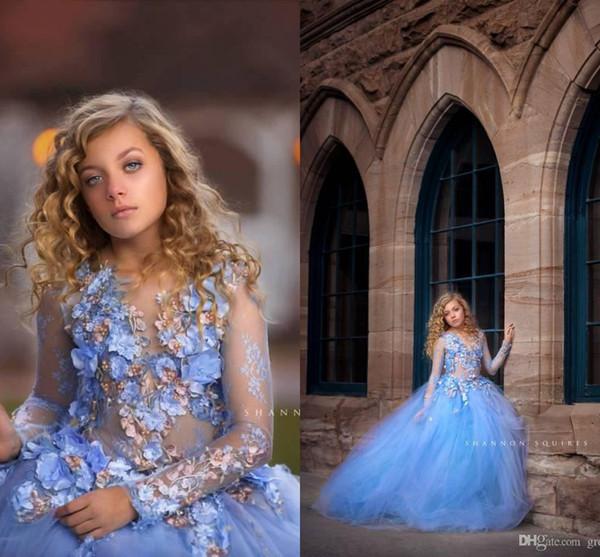 Princesa azul flores meninas vestidos para o casamento manga longa apliques contas vestido de baile crianças pageant vestidos primeiro santo vestido de comunhão