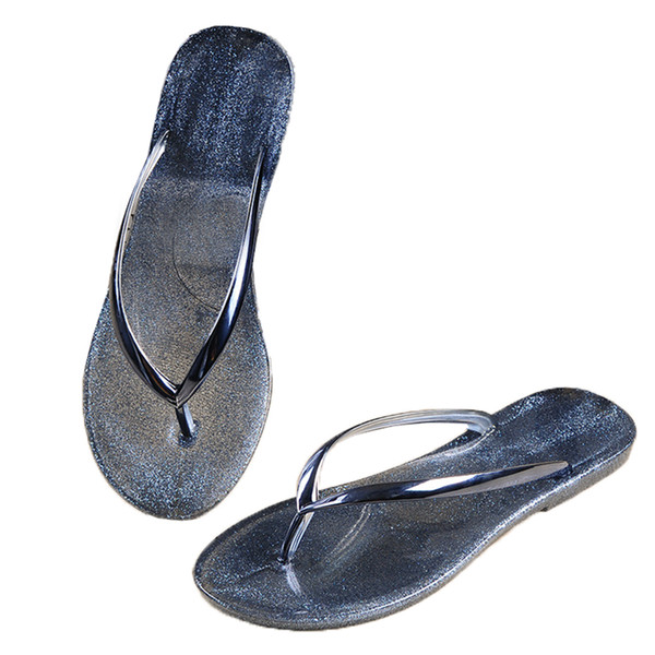 fashion women flip flop sandals Open Toe jelly shoes dry quickly beach summer thong slippers silver clear neutral comfortable
