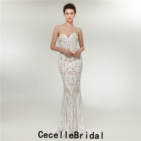 White Sequins Mermaid Long Evening Dresses Strapless 2019 New Women Sparkly Evening party Wear Teens Prom Dress Real Photos
