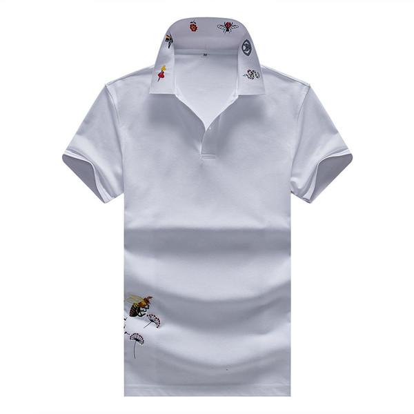 Yeni İtalya marka Tasarımcısı Polo Gömlek Erkekler rahat polo t gömlek yılan arı çiçek nakış şerit polos moda klasik Lüks polo gömlekleri