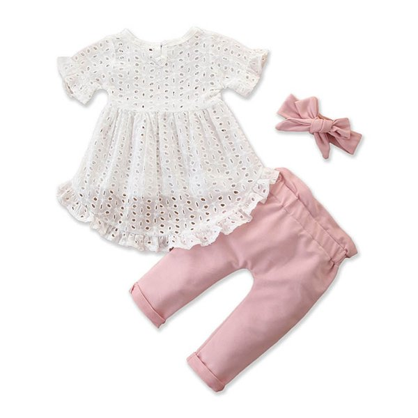 INS Summer baby girls suits baby girl clothes short sleeve blouse+PP pants+bows headband 3pcs/set newborn outfits toddler girl clothes A9066