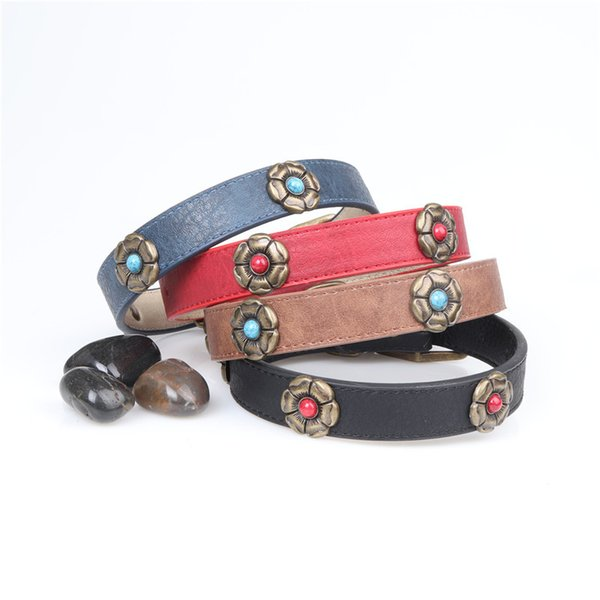 2019 New Popular Dog Collar Pet Necklace PU material with Antique Accesorry European and Amerial hot Style