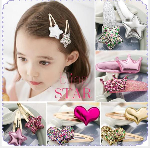 2Pcs Girls Pearl Heart Hair Clip Star crown Hairpin Accessories For Children Hair Barrette Flower Hairclip Headdress Headwear
