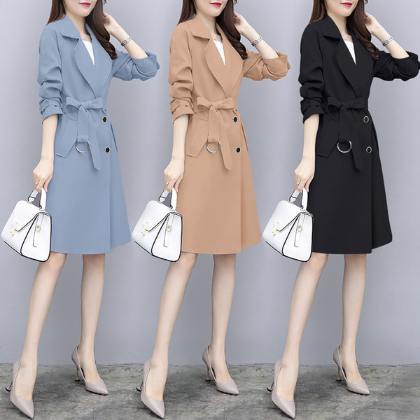 Loose Little Clothes Women Elegant Charming Female Workwear Woman Trench Coat Full Sleeve Black Mid Long Cortaviento Mujer Tops