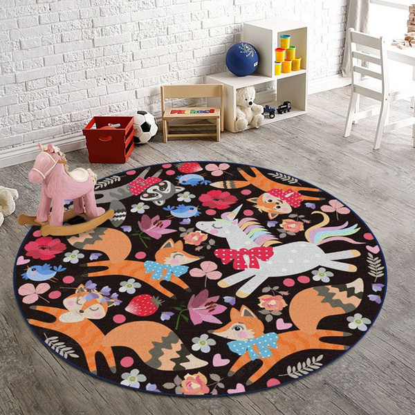 Round Cartoon Carpet for Living Room Kids Room Big Rugs for Bedroom Yoga Tatami Mat Baby Playing Rugs China Home Decor tapete