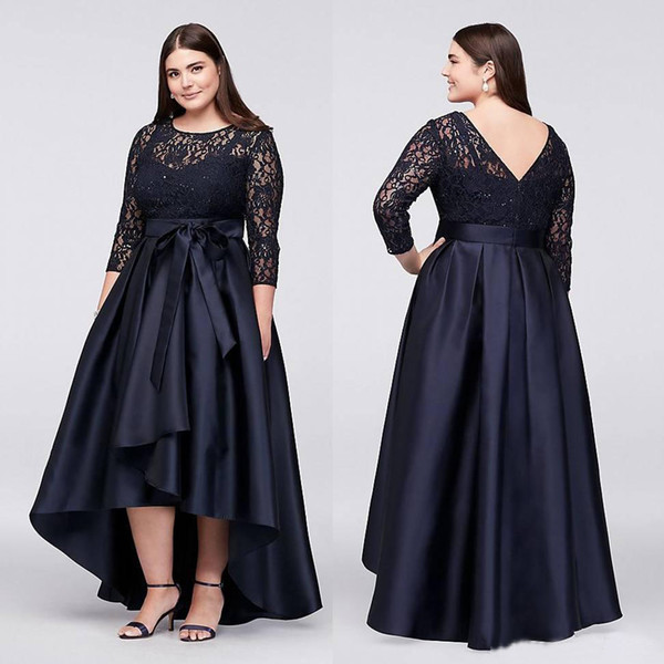 Navy Blue Plus Size High Low Formal Dresses With Half Sleeves Sheer Jewel  Neck Lace Evening Gowns A Line Cheap Short Prom Dress Plus Size Juniors ...