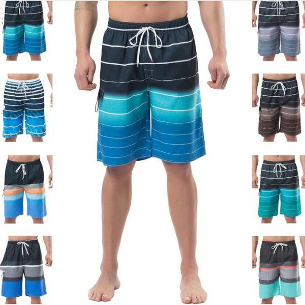 Bañadores de verano Bañadores de verano Pantalones cortos para hombre Pantalones de playa de medio rayado Pantalones cortos de tablero informal Tallas grandes Bermudas Impreso Boxeadores de surf B5737
