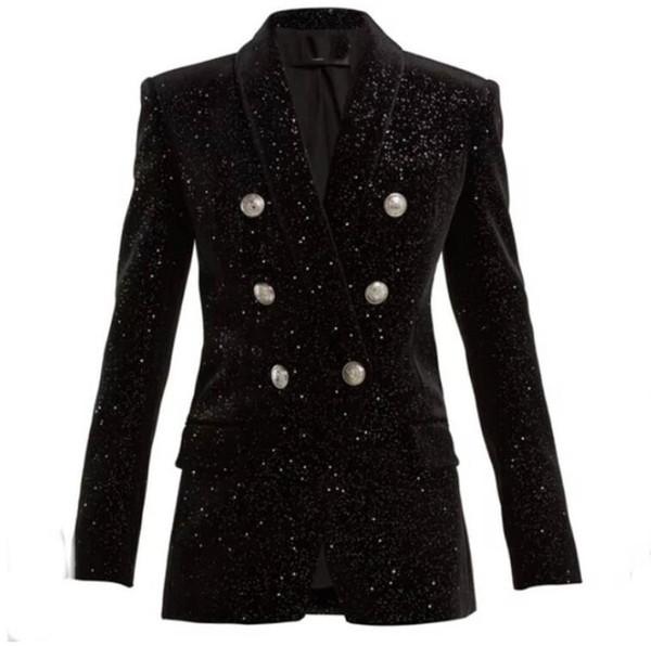 HIGH STREET Newest Baroque Fashion 2018 Designer Blazer Jacket Women's Shawl Collar Bling Star Velvet Blazer Coat