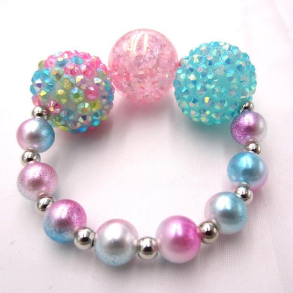 2PCS New Item adorable enfant fille Chunky Bracelet perle colorée brin de perles Bébé Enfant Bracelets Bangle Bijoux cadeau pour les filles