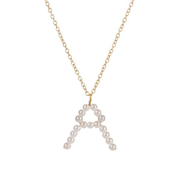Pérola de água doce colar de jóias iniciais personalizado diy a-z letra do alfabeto inglês colar de pingente encantos para as mulheres diy jóias