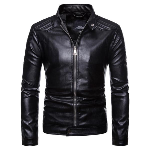 Chaqueta de cuero de la motocicleta de los nuevos hombres del tamaño del euro Euromarket Jacke jaqueta más tamaño jacka color negro hombres abrigo Chaquetas Leder