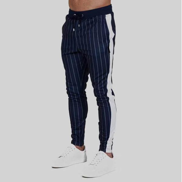 Fitness Territory Stripe Pants Nuevo tipo de deportes al aire libre para hombres Pantalones de ocio para pies pequeños Elásticos Slim