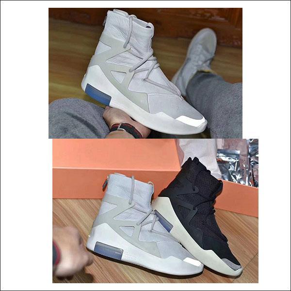 Recentes Medo de Deus 1 Homens Sapatos FOG Botas de Osso Leve Preto vela Preta Sapatos casuais Mens cinza branco preto sapatos casuais Tamanho 7-12