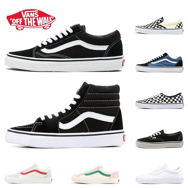 New Arrival Original Vans Old Skool Shoes Black Blue Red Classic Mens Women Canvas Sneakers Fashion Skateboarding Casual Shoes Size 36 44 Flat Shoes