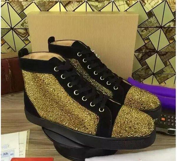 Nouveau 2018 mens daim noir en cuir avec strass or baskets bas top top, chaussures de sport causales de marque de designer 36-46