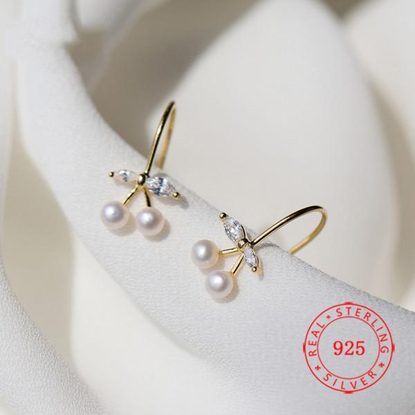 Jóias de alta qualidade de ouro China brincos de prata esterlina 925 14k ouro fruta brinco de cereja branco pérola senhora de ouro jóias