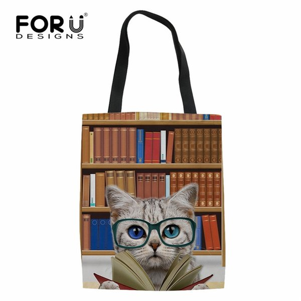 FORUDESIGNS 3D Book Cat Dog Pattern Durbale Shopping Bags Casual Women Linen Tote Bags Eco-friendly Large Cloth Storage #192569