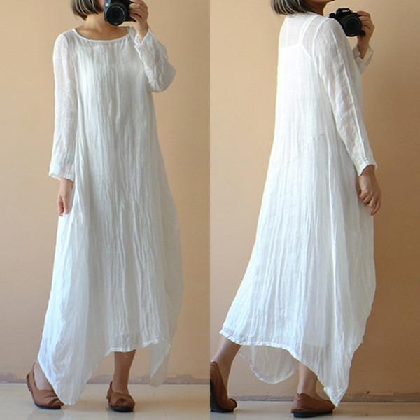 Womens Vestidos Mulheres Designer roupa vestido de algodão Vintage Plus Size 2019 Verão O Neck Sólido Longo vestido maxi Kaftan Praia Vestido