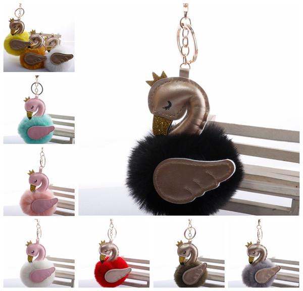Fluffy Plush Ball Keychain Beautiful Swan Pu Leather Gold Metal Prom Ball Pom Key Chains Key ring Holder for Car Bag Fashion Accessories