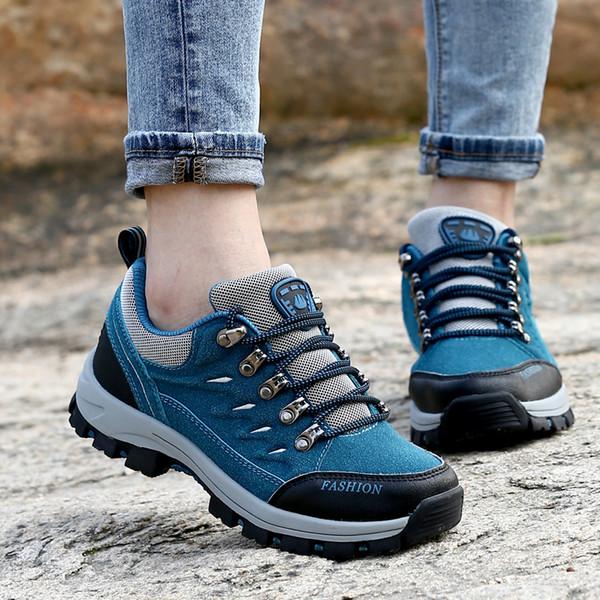 Chaud en plein air imperméable résistant confortable hommes femmes chaussures de randonnée chaussures unisexe baskets automne hiver chaussures d'escalade à lacets