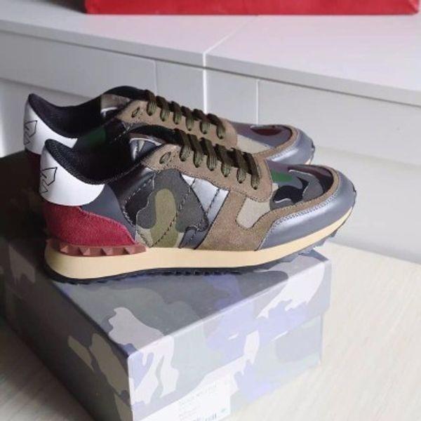 [original box]Fashion Lover Designer Rock Stud Sneaker Shoes Women,Men Fashion Casual Shoes Rock Runner Trainer Flats Shoes Size 36-46