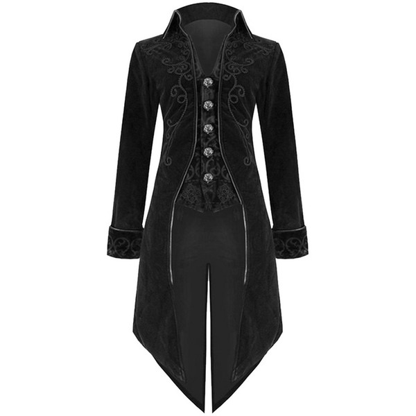 Mens Stand Collar Trench Long Jacket Gothic Coat Steampunk Outwear Clubwear Tops