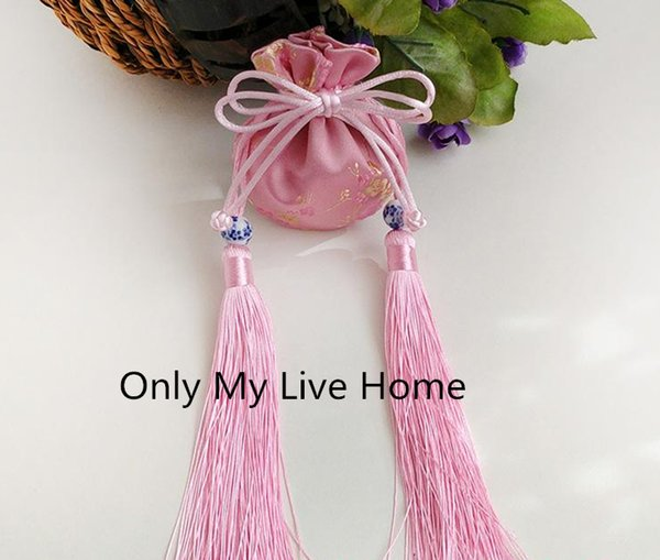 Floral Tassel Cute Mini Silk Pouch Satin Drawstring Gift Bags for Jewelry Packaging Craft Fabric Bag Small Sachet 8x9cm 2pcs/lot