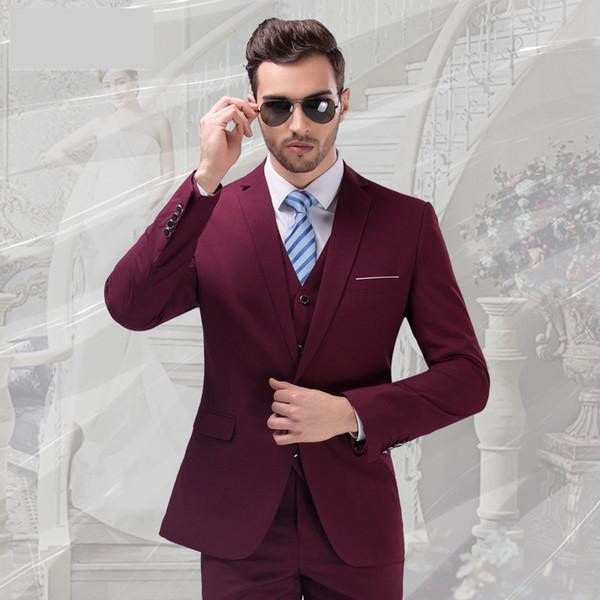 Wine Groom Tuxedos Notch Lapel Center Vent Men Wedding Dress Excellent Men Business Dinner Prom Blazer 3 Piece Suit(Jacket+Pants+Tie+Vest)2