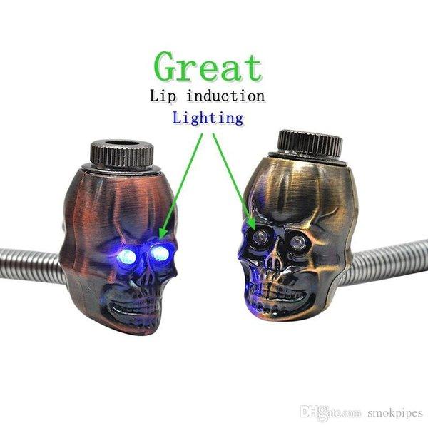 Красочный мини-травяной череп форма головы фильтр курительная трубка изогнутая Губа индукционное электронное освещение отличный высококачественный инновационный дизайн горячая распродажа