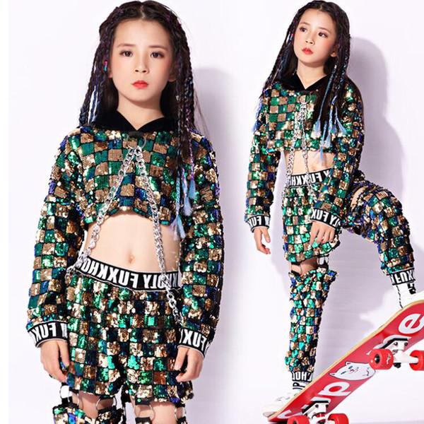 Tanzkleidung Hip Hop Jazz Turnierkleid Tangokleid Pailletten Kostüm Top Hose