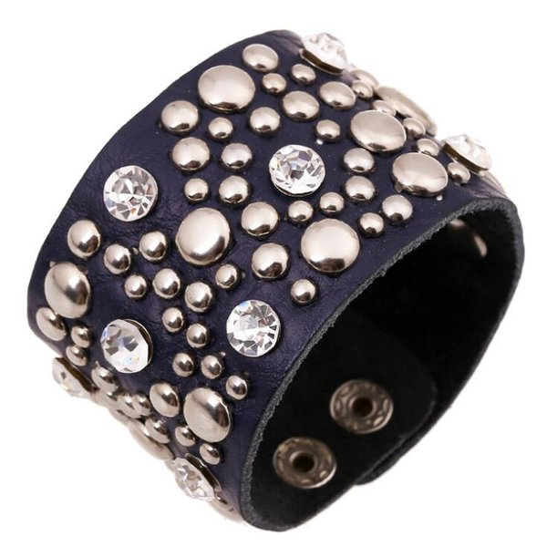 Gothic Punk Vintage Crystal Rivet Wide Leather Cuff Bracelet Black Silver Bead Charm Bangle Wristbands Fashion Men Women Jewelry