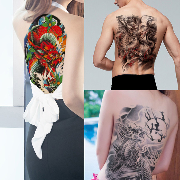 Big Large Kylin Temporary Tattoo Sticker Full Back Body Art Chest for Cool Man Woman Summer Waterproof Tattoo Beach Party Transfer Paper New