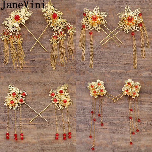 JaneVini 2pcs One Pair Chinese Traditional Bride Hairpin Headdress Golden Pageant Wedding Hairwear Flower Red Hair Accessories C19010501