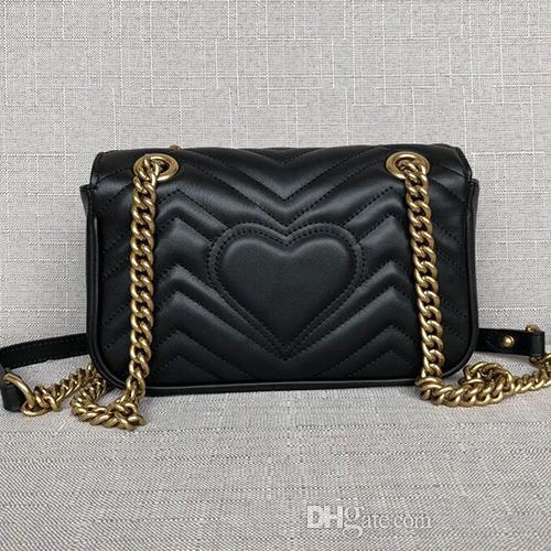 Marmont Heart Designer Shoulder Bag Women Real Leather Crossbody Messenger Bag Gold Chain women's handbag