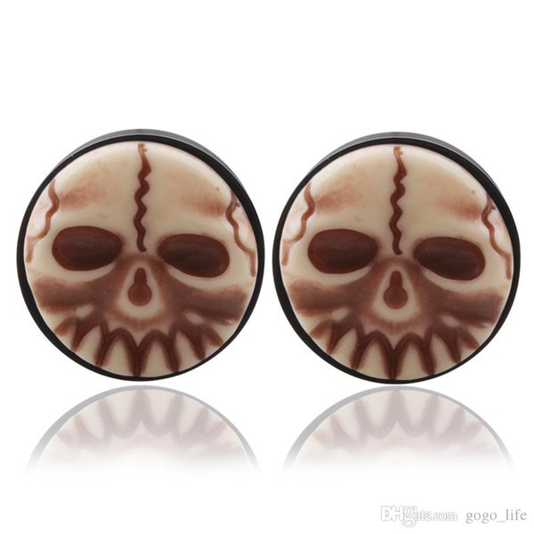 Punk Skull Earrings Plugs for Men Boys skeleton Tunnels Vintage