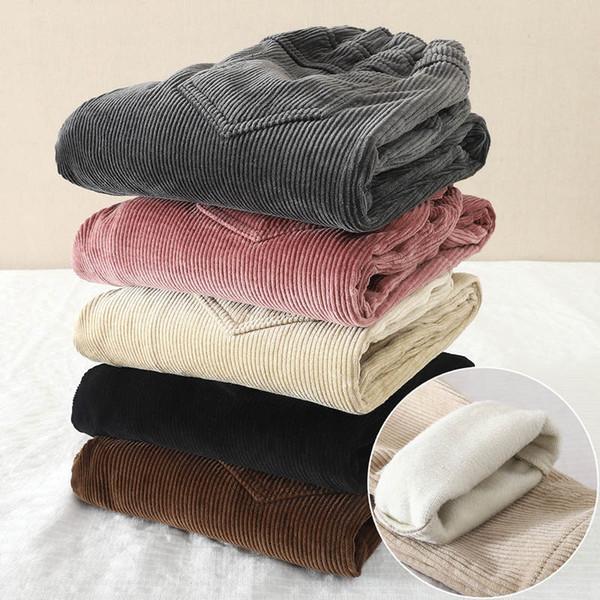 Pantalones de pana Pantalones de cintura elástico de las mujeres del invierno del otoño de las mujeres, además de terciopelo Harem pantalones largos más el tamaño XXXL