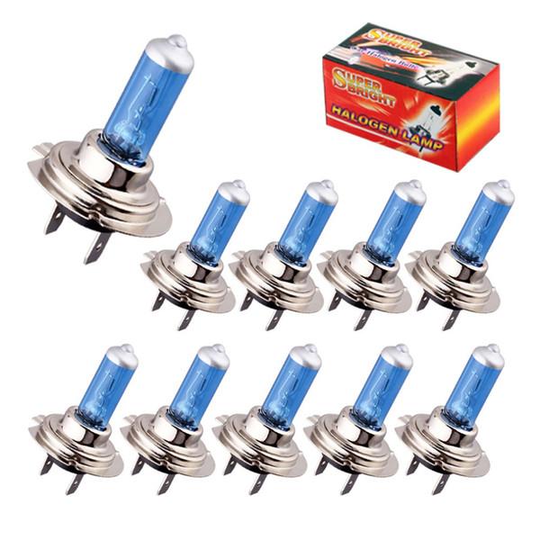 10pcs H7 55W 12V Halogen Bulb Super Xenon White Fog Lights High Power Car Headlight Lamp Car Light Source parking auto 030