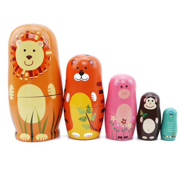 Children Cute Fun Wooden Doll Cartoon Animal Paint Nesting Dolls Russian Matryoshka Doll Gift For Baby 5 Pcs/Set